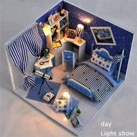 Wholesale Hot wooden doll house diy cute room with two beds model house furniture for boys girls for Hallowen birthday gifts