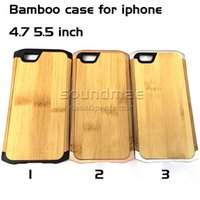 aluminum bamboo - Bamboo Wood iphone s plus Durable Hybrid Rugged Armor Case Aluminum Back Cover For iPhone s plus With Retail box
