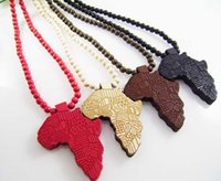 beaded chain hands - Hip hop statement Necklaces Wooden Hand drawn GOOD WOOD NYC Map of Africa Beaded rosary necklaces colors