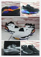 Wholesale Silk Black Cheap Lace Top - Wholesale 2016 Retro 8 Basketball Shoes fastion Men Boots top Quality Black Grey Sneakers Cheap Men's Sports Shoes Free Drop Shipping 41-47