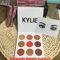 Wholesale In Stock THE BURGUNDY PALETTE KYSHADOW Kylie Jenner Newest Kyshadow Eyeshadow Lip Kit Makeup Eye Shadow