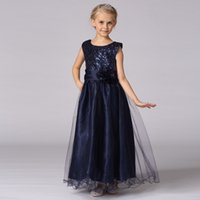 baby frock designs - 2016 Top sell Long frocks design dress flower girl dresses sequins a line baby girl party dress LP