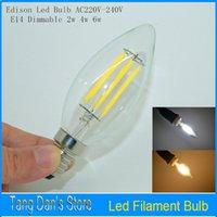 antique shell lamp - C35 Antique Retro Vintage Edison Led E14LED Filament candle Bulb AC V W W W Degree Glass Shell Led Bulb Light Lamp