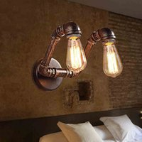 bathroom switch plates - Vintage E27 Plated Wall Lights Loft Iron Wall Lamp Retro Industrial Bathroom Stair Antique Wall Lamp Luminaria water pipe new hot
