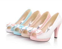 Wholesale Spring summer single color matching sweet fish mouth shoes super high heels thick with shoe size