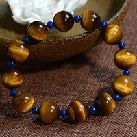 azurite jewelry - 5A natural Tiger Eye Bracelet yellow tiger eye pseudocrocidolite wood stone original jewelry bracelet men become Azurite