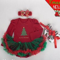bebe lace dress - New Baby Girl Clothing Sets Christmas set Lace Tutu Romper Dress Jumpersuit Headband Shoes Set Bebe First Birthday Costumes