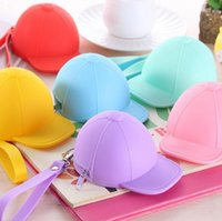 baseball hat organizer - Cute cartoon candy color baseball cap coin bag mini hat key silica gel female change hand bag hot