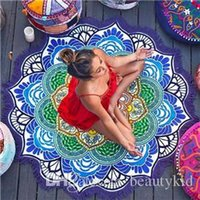 Wholesale New Designer Mandala Tapestry Indian Wall Hanging Beach Throw Towels with Tassel Yoga Mat Polyester Printed Blanket Bedspread BKT099