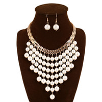 big plastic pearls - Fashion Women Necklace Earrings Jewelry Sets Crystal Gold Silver Plated Big Simulated Pearl Wedding Party Jewelry Sets For Women