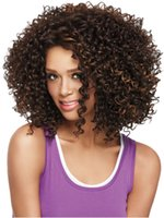 Wholesale Brown black Ombre mix afro curly half wig full cap instant weave