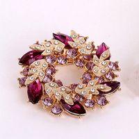 big pectorals - Pectoral flower brooch fashion female Artificial crystal big pins accessories shawls buckle