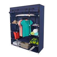 Wholesale 53 quot Portable Closet Storage Organizer Wardrobe Clothes Rack With Shelves
