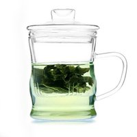 Wholesale Glass Teapot With Strainer Transparent Water Mug Flower Three Piece Tea Suits Office Cups