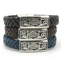 Wholesale Newest Design Brown Blue Black Fire Flame Biker Cool Bracelet L Stainless Steel Fashion Jewelry Leather Biker Style Bracelet