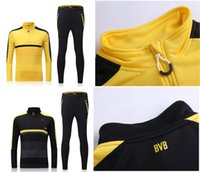 Wholesale 16 Dormund yellow black sweater tracksuit Sportswear training Suits men s Clothes Trackring suits Male Hoodies mix order