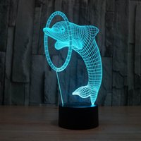 angels products - 3D Illusion Led Night Light colors Dolphin Lamp Table Novelty Products Christmas Lights with Touch Button Children Night Light