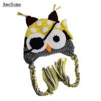 Unisex Winter Crochet Hats Super Cool Owl Pirate Hat,Handmade Knit Crochet Baby Boy Girl Yellow Grey Animal Hat,Toddler Funny Hat,Halloween Costume,Infant Photo Prop