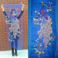 Wholesale 60 cm large blue phoenix or peacock sequin embroidery applique patch as raw material for classic or performing clothes DIY