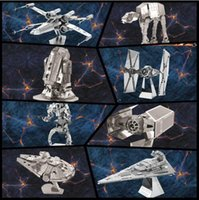 Wholesale Star Wars X Wing Fighter puzzle toys mini metal Model Building Kits puzzle D Scale Models DIY Metallic he Millennium Falcon