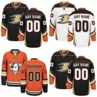 achat en gros de coutume canard-Personnalisé Anaheim Ducks Jerseys Blanc Noir Orange Jerseys Custom Mighty Ducks De Anaheim authentique Ice Hockey Maillots Cousus Personnalisé