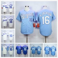 Wholesale Bo Jackson Royals Jersey White Home Blue Alternate Cream Stitched B Jackson KC Kansas City Royals Throwback Baseball Jerseys