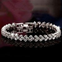 Wholesale Top Grade Silver Bracelets CZ Diamond Crystal Tennis Bangle Bracelets For Women Girl Wedding Party Jewelry WH