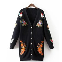 bee cardigan - Fashion Bee Butterfly Tiger Embroidery Long Knitted Cardigan Women V neck Long Sleeve Sweater Outerwear pull femme XDWM688