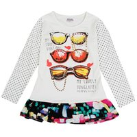 Wholesale White T shirt girls Long Sleeved Kids clothes for Children s Day pull collar Dot Cotton and spandex for kids clothing