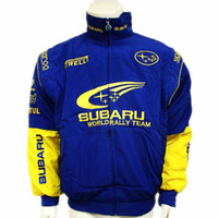 automobile color - NEW Brand Outdoor Original Automobile Work Wear Motorcycle Clothing F1 SUBARU Emblem Driver Winter Wadded Jacket