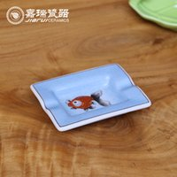 bathroom accessories ceramic - Portable Chinese White ceramic Ashtray Dish Fish and Frog Pattern Cigarette Holder Somking Dish Ashtray Plate Bathroom Accessories Supplies