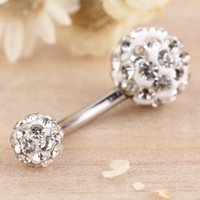 Wholesale Hot Worldwide Classic Navel Belly Button Bar Ring Barbell Rhinestone Crystal Ball Body Piercing Body Jewelry