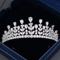 10k gold jewelry - Designer Wedding Bridal Zircon Queen Crown Tiara Headpiece Hair Accessories Headband Jewelry Silver Crystal Rhinestone Prom Jewelry Supplier