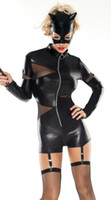 Wholesale Women Black Faux Leather Catsuit Sexy Cosplay Catwoman Costume Clothing Europe and America Hollowen Costumes Latex Cat suit