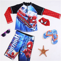 Wholesale Boys Child Sunscreen Long Sleeved Split Spider Man Frozen Rash Guard Shirts Cool Cartoon Baby Kids Swimsuit Hot Sales Boy Swimwear