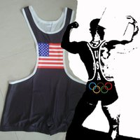 Wholesale Olympic Flag Wrestling Singlet Gear Weight lifting Gym Building sports Outfit