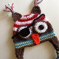 Unisex Summer Crochet Hats Super Cool Pirate Owl Hat,Handmade Knit Crochet Baby Boy Girl Owl Hat,Animal Earflap Hat,Halloween Costume,Infant Toddler Photo Props