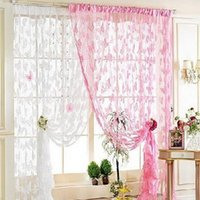 Wholesale New Retail New Butterfly Printed Tulle Voile Door Window Balcony Sheer Panel Screen Curtain