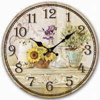 antique vintage vases - Retro Vintage Style Large Clock Sunflower Vase Flower Pot Home Decorative Wall Clock Wood CM