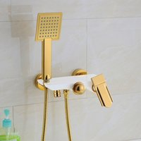 bathtub shower designs - 2016 Luxury Elegant Design Unique Shape Chrome Black White Golden Wall Mounted Bathtub Faucet with Hand Shower