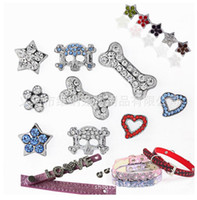 Wholesale luxury sparkling rhinestone crystal slider charms DIY dog collar white colour color for cat dog pets party gift