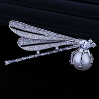 baguette vintage jewelry - Vintage Full Clear CZ Pave White Profile Dragonfly Brooch with Shell Pearl Round Baguette Stone Prong Set Silver Inset Jewelry