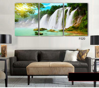 beauty picture frames - 3 Piece Wall Art Painting Canvas Painting Strong Waterfall Natural Beauty Painting Modern Picture Home Decor No Frame