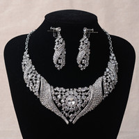 Wholesale silver clear bridal necklace earrings wedding Jewelry set sets cz rhinestones