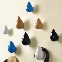 Wholesale Waterdrop wood wall robe hooks square block wall rack home storage clothing hooks