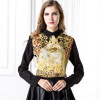 Черные отпечатки искусства Цены-Женщины Черный ретро Рубашки Повседневный Blusas Femininas Art Тотем Printed пуловер Назад Zipper шифон с длинным рукавом Блузка Top DK1703LY