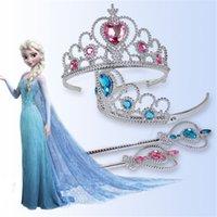 Wholesale 2016 Children Girls Cartoon Frozen Ornament Anna Elsa cosplay Crown Tiaras Children Party Accessories Magic Wand sticks Rhinestone Crown