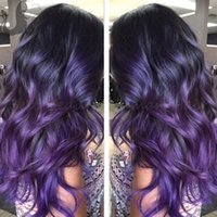 Cheap Ombre Full Lace Human Hair Wigs Brazilian Virgin Hair Wet And Body Wave Lace Front Wig Two Tone 1B Purple Human Hair Wig