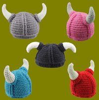 Boy Spring / Autumn Crochet Hats Handmade Crocheted Viking Horns Hat Children Winter Knitted Hat Baby Boys Girls Cartoon Animal Beanie Kids Newborn Infant Toddler Kids Caps