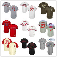 achat en gros de anges anaheim jersey xxl-Los Angeles Angels de Anaheim # 27 Mike Trout Blanc Pull Down Rouge Fashion Stars Gris Beige Army Green La Stitched MLB Baseball Jerseys Vente